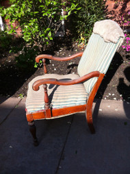 Mahogany Striped Arm Chair - to be reupholstered