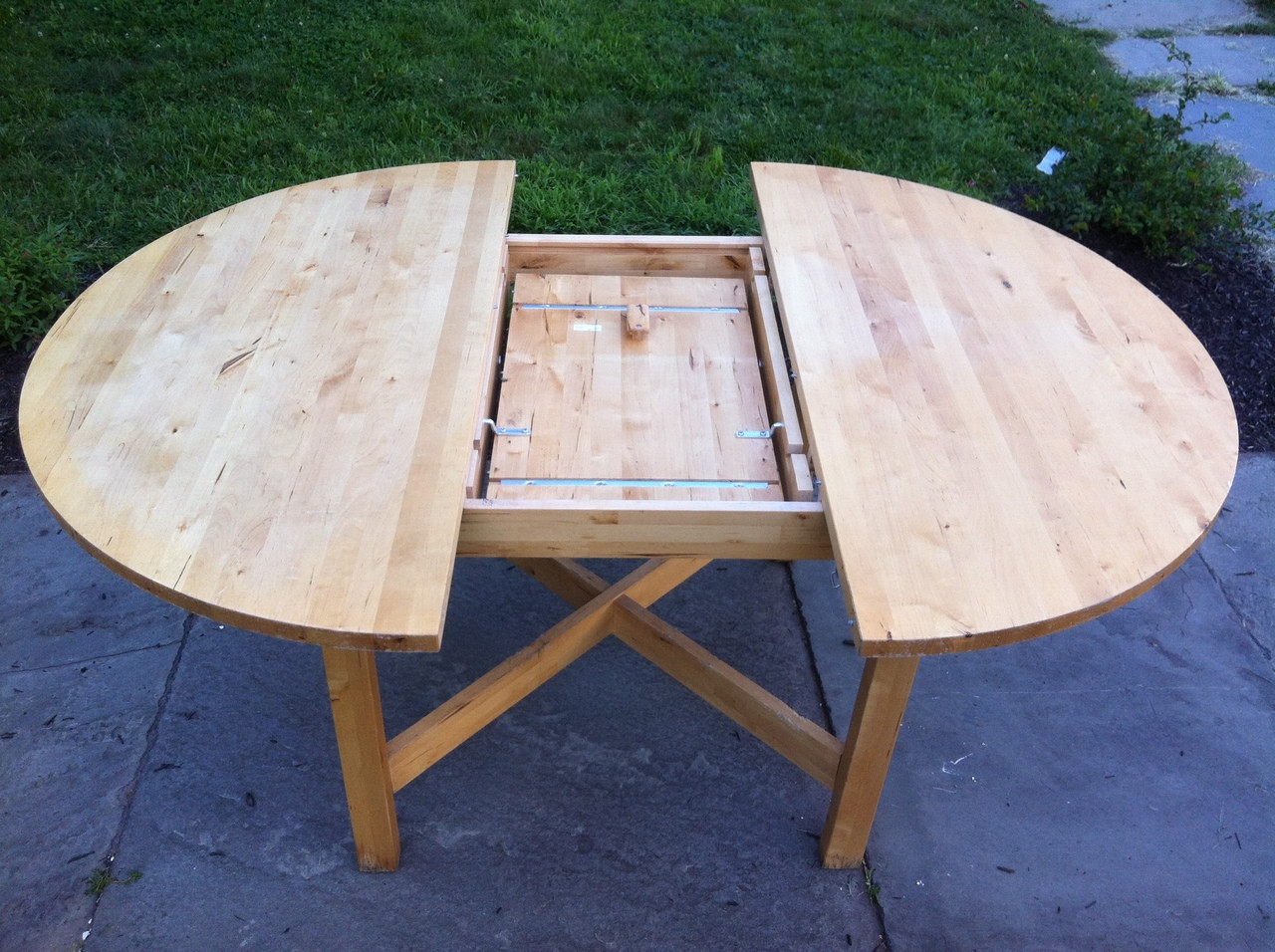51 round birch dining table w butterfly leaf forgotten for Round table with butterfly leaf