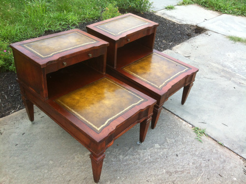 Pair of Mahogany Leather Top End Tables Forgotten Furniture