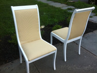 Pair of White Side Chairs w/ Stripped Upholstery