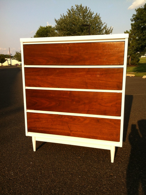 mid century modern walnut white 4 drawer dresser forgotten furniture. Black Bedroom Furniture Sets. Home Design Ideas