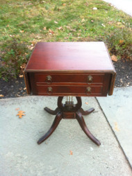 Antique Mahogany Harp Pedestal Drop Leaf End Table