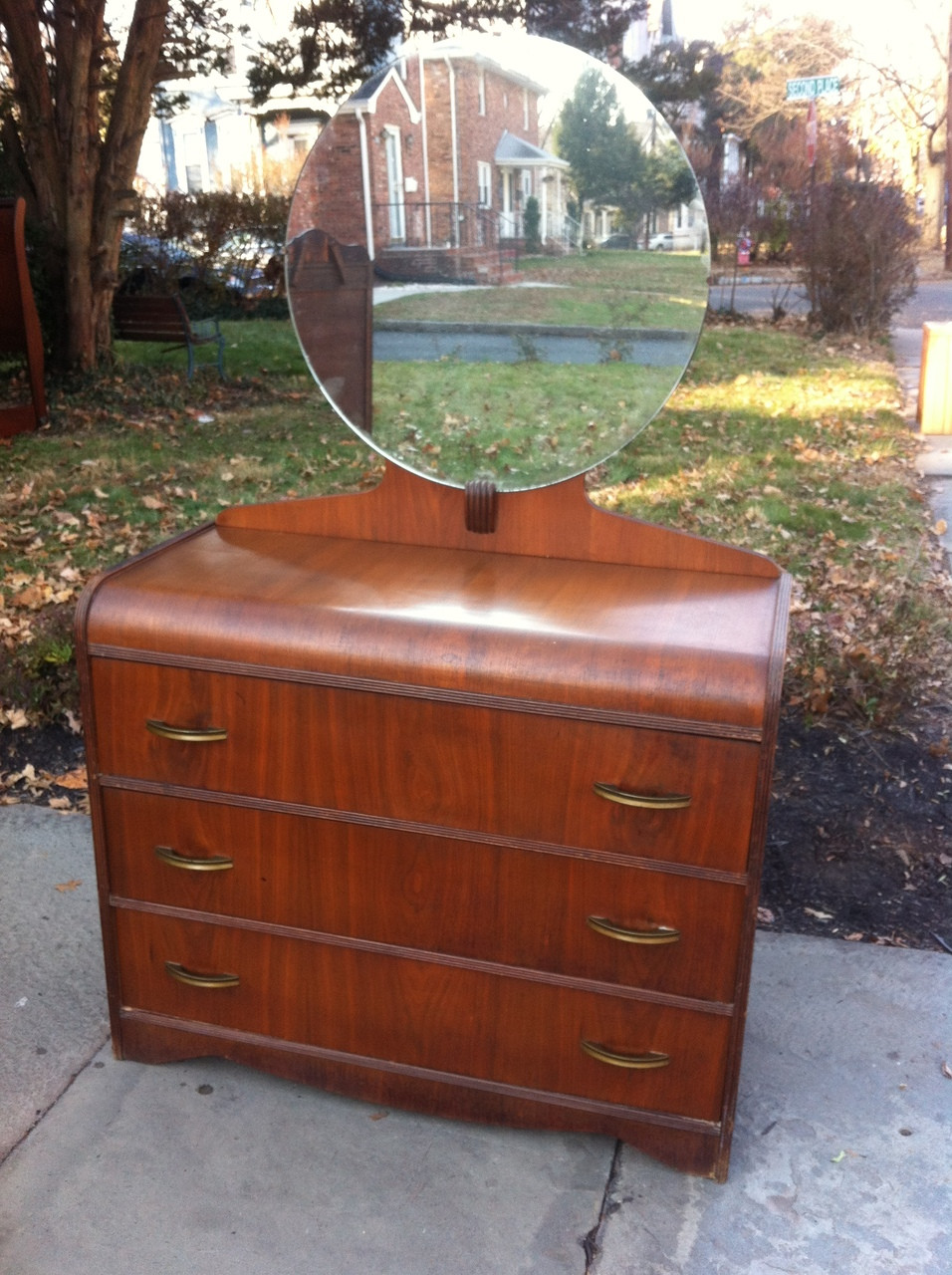 Art Deco Waterfall Dresser With Mirror Forgotten Furniture