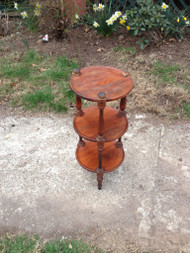 "12"" Round Cherry End Table / Plant Stand"