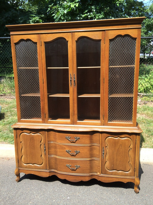 Vintage 5ft French Provincial Cherry China Cabinet