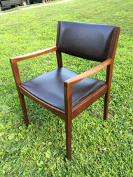 Mid Century Modern Walnut Brown Leather Arm Chair