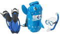 Head Sea Pals Jr Kids Mask Dry Snorkel Fins Set Diving Snorkeling Blue Puffer