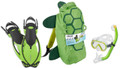Head Sea Pals Jr Kids Mask Dry Snorkel Fins Set Diving Snorkeling Green Turtle