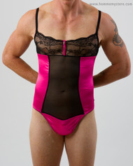 Lovely Rachel thong teddy has one way stretch satin with sheer panels at the front and back to create a perfect fit.