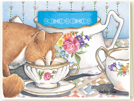 340 Kitty Teacup Card