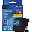 Brother LC105C Cyan Ink Cartridge, Extra High-Yield