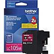 Brother LC105 Magenta Ink Cartridge, Extra High-Yield