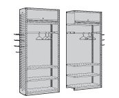 Shelving with Door & Clothes Hanging Rail, Starter & Adder