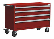 Mobile Drawer Cabinet Rousseau Heavy Duty R5BJE-3005 Flame Red