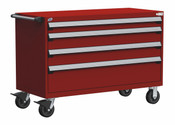 """HD Mobile Drawer Cabinet, 4 Drawers, 54"""" x 27"""" x 37.5"""" high w/ 86 Compartments (3009)"""