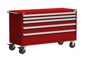 """HD Mobile Drawer Cabinet, 5 Drawers, 60"""" x 27"""" x 37.5"""" high w/ 285 Compartments (3031)"""