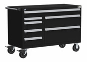 """Mobile Multi-Drawer Cabinet, 7 Drawers, 54"""" x 27"""" x 37.5"""" high w/ 54 Compartments (3005)"""