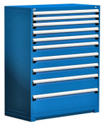 The Maintenance Master 10 Drawer Cabinet, Avalanche Blue, Rousseau Heavy Duty Drawer Cabinet