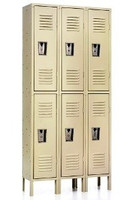 Double Tiered Quick Ship Metal (Steel) Lockers. Three Wide: 6 Openings.