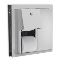 Toilet tissue dispenser for restrooms. Partition mounted. Stainless Steel. Not controlled