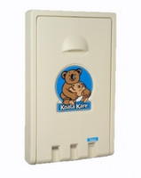 Vertical Baby Changing Station in closed position. Cream color option