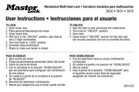Instruction stickers for Master Lock Multi-User Locks.