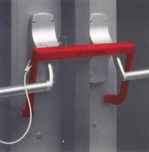 Security Latch #5501-CL installed on double panic doors with push bar exit devices & center post between doors.