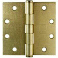 "Door Hinge. Full Mortise, Plain Bearing. 4"" x 4"". Brass Plated. #3301FMSHBR4"