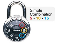 ADA Inspired Master Lock 1525EZRC Combination Padlock. Simple Combinations use ONLY Numbers on dial (5, 10, 15, etc.)