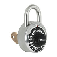 Master Lock 1585. LETTER Combination Padlock. Control Keyed. Comes in different colors! Since the dial has Letters instead of numbers, the combination Is So Much Easier to Remember!