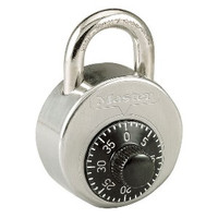 """Master Lock 2002S High Security Combination Padlock. Anti-Shim design, Hardened shackle, and Stainless Steel body. NOT Control Keyed. 1/2"""" shackle for lockers WITH recessed handles."""