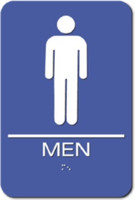 Men's Restroom Sign. Braille. ADA Compliant.
