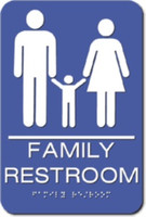 Family Restroom Sign. Wheelchair Accessible. ADA Compliant with Braille. #09018