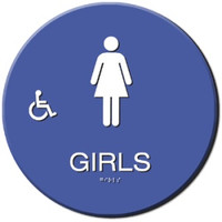 Wheelchair Accessible Girls' Restroom Sign California Title 24 Compliant. #09034