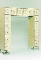 Republic Steel Quick Ship 16-Person Multi-Robe Box Lockers with Coat Rod.