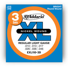 D'Addario XL Nickel Round Wound 3-Pack Electric Guitar Strings