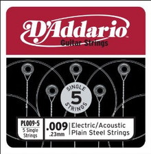D'Addario Plain Steel Guitar String 5 Pack