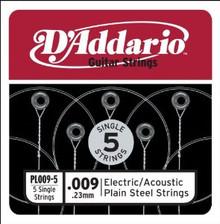 D'Addario Plain Steel Guitar String 5 Pack