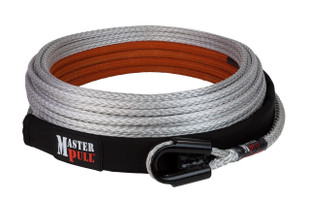 """Superline synthetic winch line. The gusset tube thimble will not crush under load, so a shackle pin up to 7/8"""" diameter will always fit in the eye."""