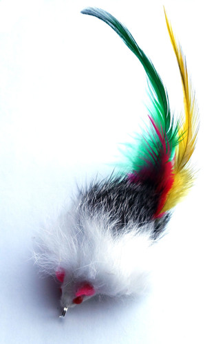 Cat Wand Refill - Real Rabbit Fur Mouse with Feather Tail
