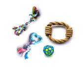 Rope Knot Rubber Ring Puppy Dog Toy 4 Pack