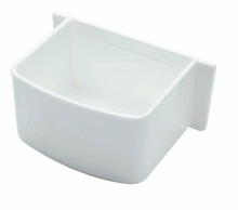 Feeder and waterer D-cup with side wings for parakeets and lovebirds