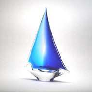 Murano Glass Sailboat Aqua Blue Medium