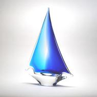 Murano Glass Sailboat Aqua Blue Medium