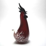 Murano Glass Rooster Red White