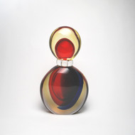 Murano Glass Trentino Bottle Red Blue Amber