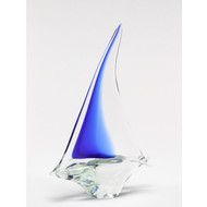 Murano Glass Sailboat Cobalt Blue Clear Large