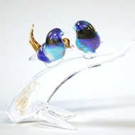 Murano Glass Birds on Branch Blue Aqua Amber