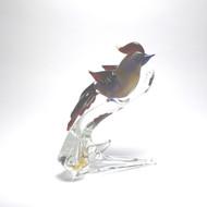 Murano Glass Bird on Branch Red/Blue