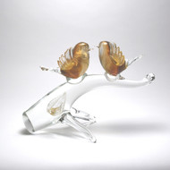 Murano Glass Birds on Branch Amber Gold